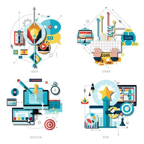 Conjunto de ícones de trabalho criativo vetor