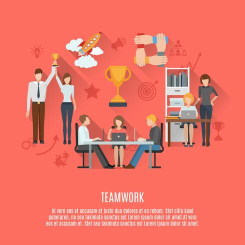 Cartaz plana de conceito de trabalho em equipe de negócios vetor
