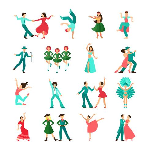 Vários, estilo, dançar, homem, ícones vetor