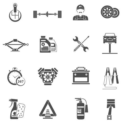 Ícones de serviço de carro preto vetor