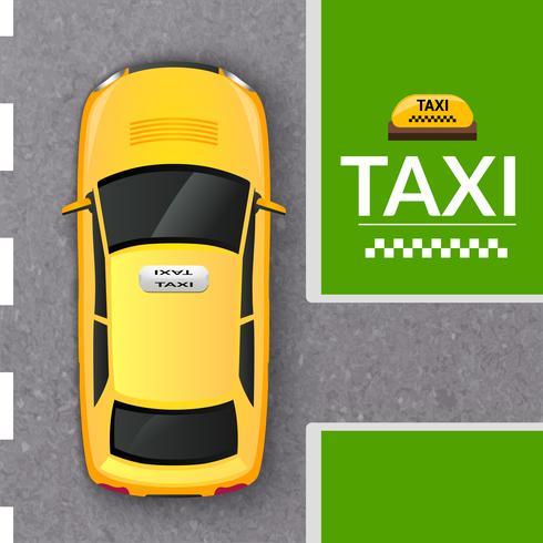 Banner de vista superior de táxi de táxi amarelo vetor