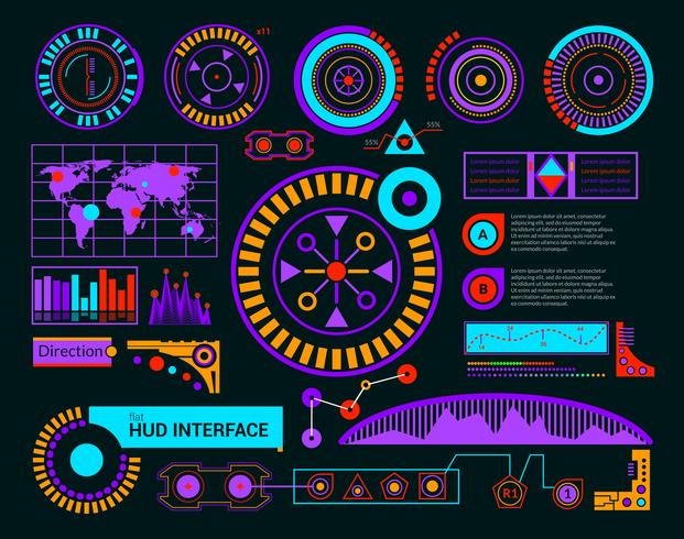 Hud Interface Preto vetor