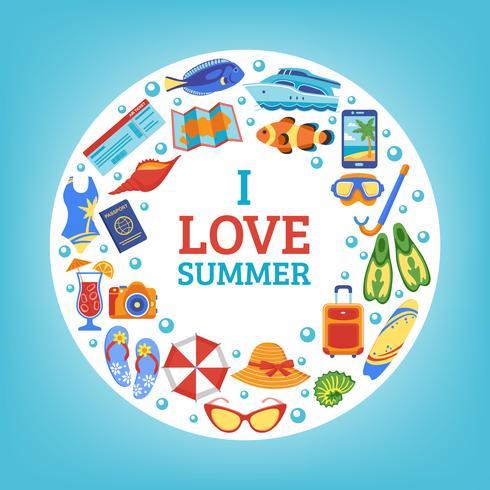 Cartaz de composição de círculo de conceito de férias de verão vetor