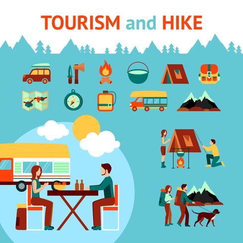 Turismo E Caminhada Infográficos vetor