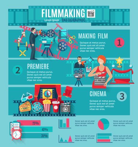 Conjunto infográfico de produção cinematográfica vetor