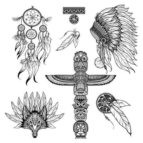 Conjunto de Doodle Tribal vetor