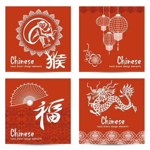 Conjunto de cartas chinesas vetor