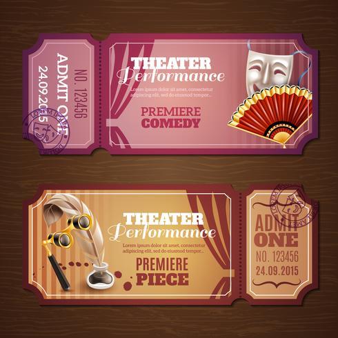 Ingressos Teatro Banners Set vetor