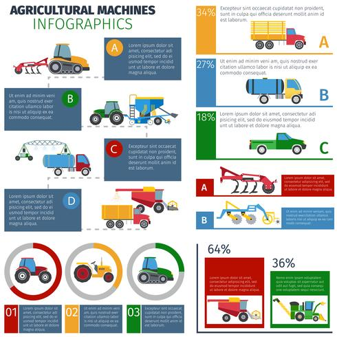Conjunto de infográfico de máquinas agrícolas vetor