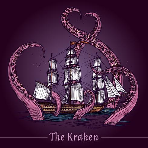 Kraken Sketch Ilustração vetor