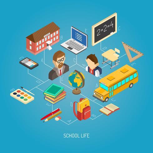 Cartaz de conceito isométrico de escola secundária vetor