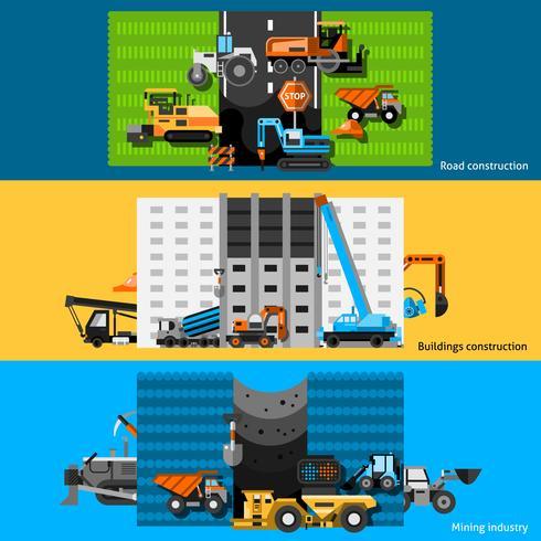 Conjunto de Banners de máquinas de construção vetor