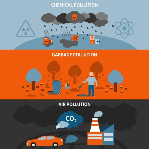 Conjunto de Banners de Poluição vetor