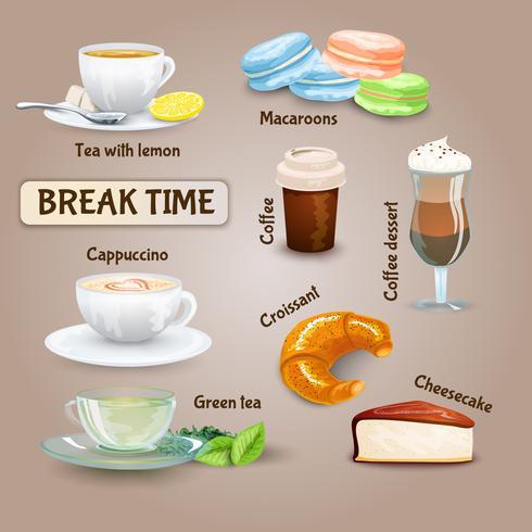 Conjunto de Coffee Break vetor