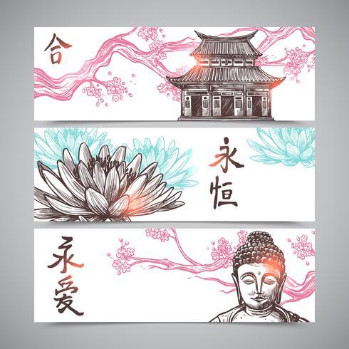 Conjunto de Banners Asiáticos vetor