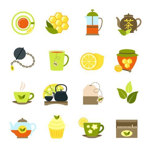 Conjunto de ícones de chá vetor