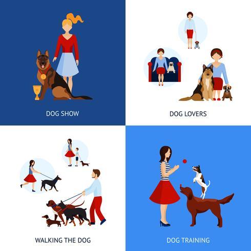 Conjunto de pessoas com cães vetor