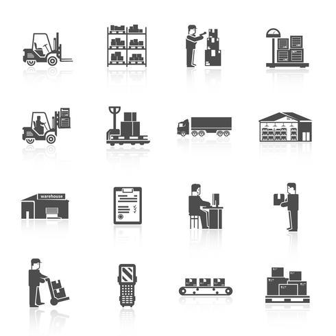Conjunto de ícones de armazém vetor