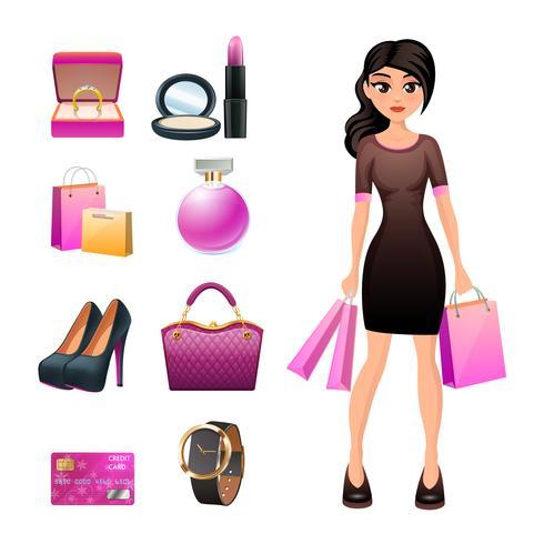 Mulheres compras conjunto decorativo vetor