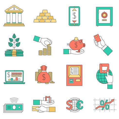 Conjunto de ícones de negócios bancários vetor