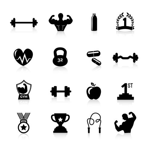 Preto de ícones de musculação vetor