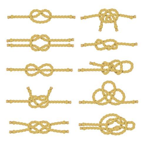 Conjunto de ícones decorativos de nó de corda vetor
