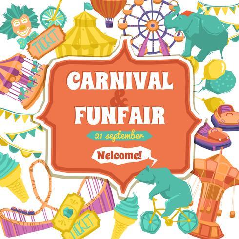 Feira de divertimento e cartaz do carnaval vetor