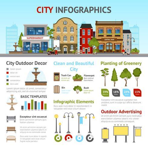 Conjunto de infográficos da cidade vetor