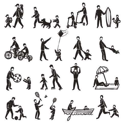 Conjunto de ícones de esboço de atividade familiar vetor