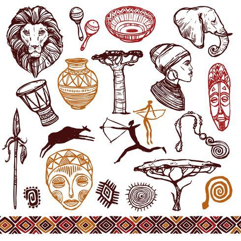 Conjunto de Doodle de África vetor