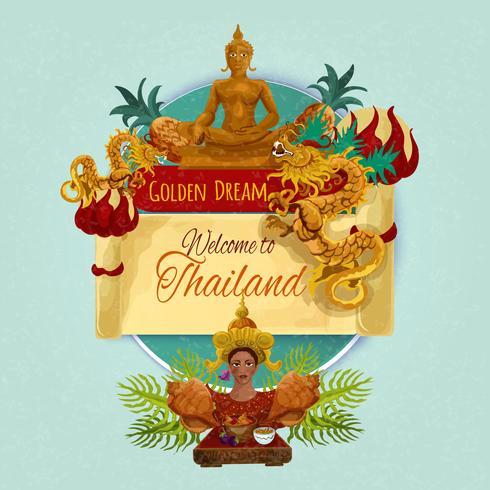 Cartaz turístico de Tailândia vetor