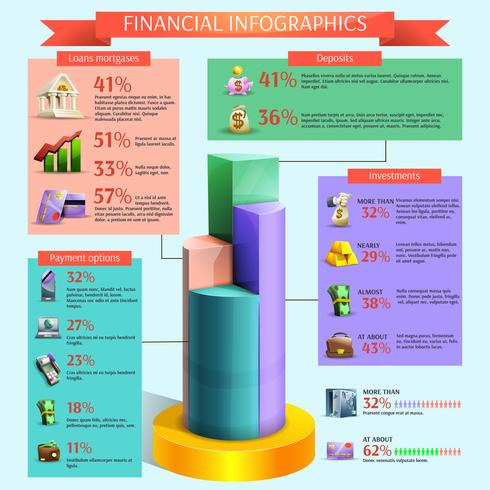 Conjunto de infográfico financeiro vetor