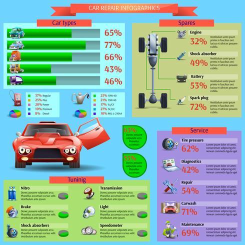 Conjunto de infográfico de reparo de carro vetor