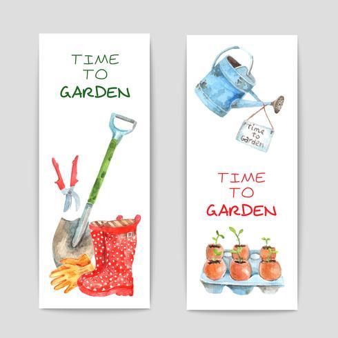 Conjunto de Banners de aquarela de jardinagem vetor