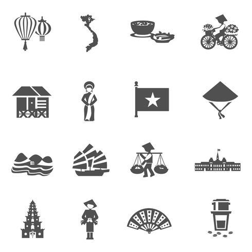Conjunto de ícones branco preto vietnamita vetor