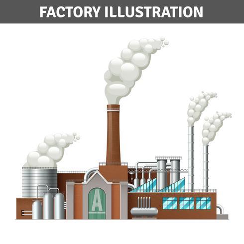 Ilustração realista de fábrica vetor