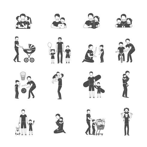 Conjunto de ícones de paternidade vetor