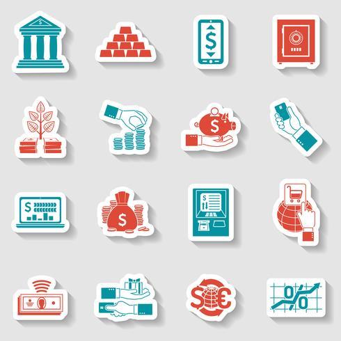 Conjunto de adesivos bancários vetor