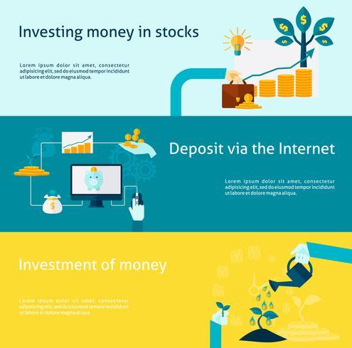 Conjunto de banner de investimento vetor
