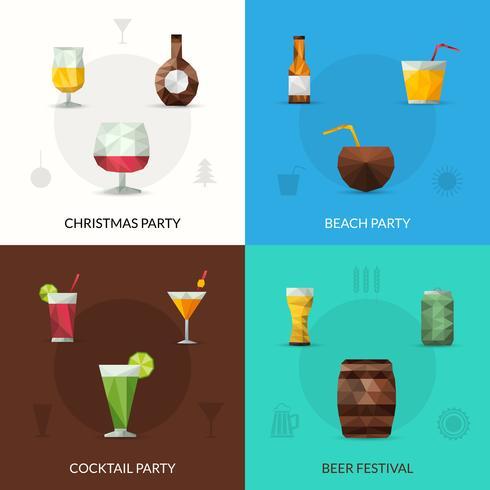 Conjunto poligonal de bebidas vetor