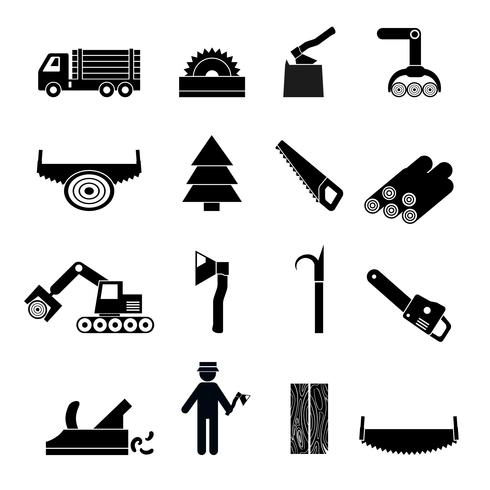 Ícones de indústria de madeira preta vetor