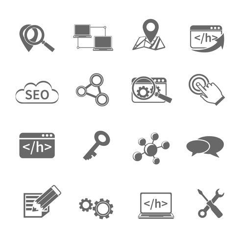 Conjunto de ícones de marketing de SEO vetor