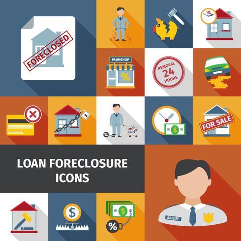 Ícones de encerramento de empréstimo vetor