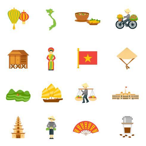 Conjunto de ícones do Vietnã vetor