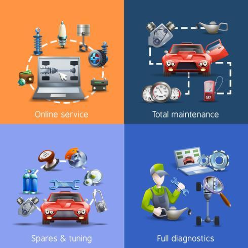 Conjunto de ícones de desenhos animados de manutenção de carro vetor
