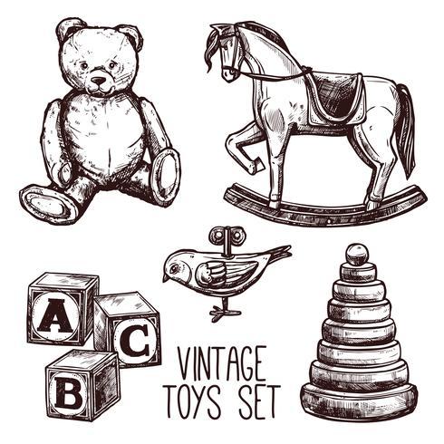 Conjunto de brinquedos vintage vetor