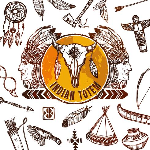 Fundo dos nativos americanos vetor