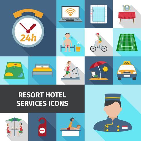 Conjunto de ícones plana de serviços do Hotel vetor