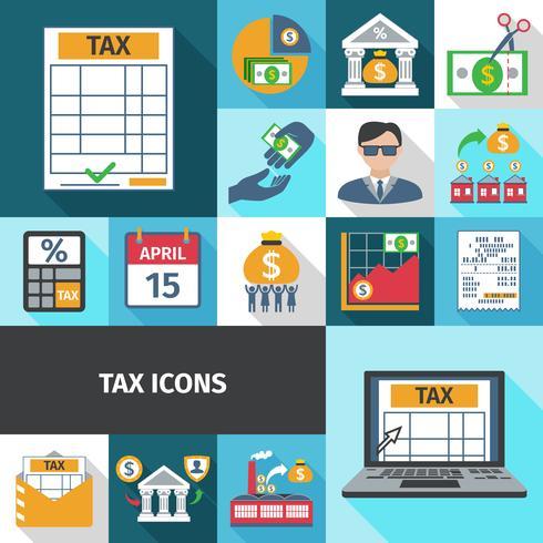 Conjunto de ícones plana de imposto vetor