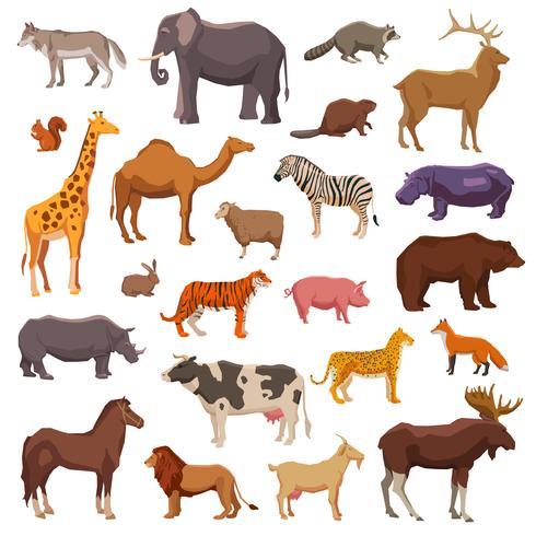 Conjunto de animais grandes vetor